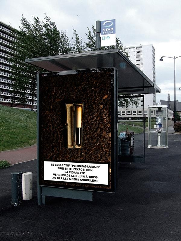"""in situ affiche de l'exposition """"La Cigarette"""" du collectif Perds pas la main"""