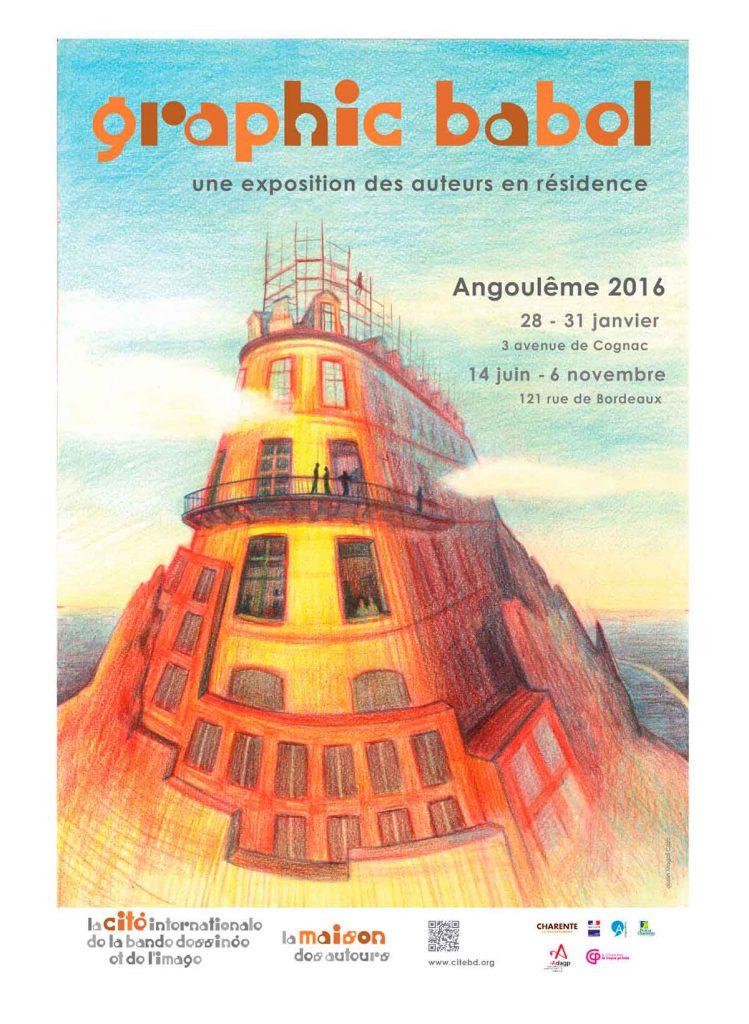 """affiche de l'exposition """"Graphic Babel"""" de la Cité internationale de la bande dessinée et de l'image à Angoulême"""