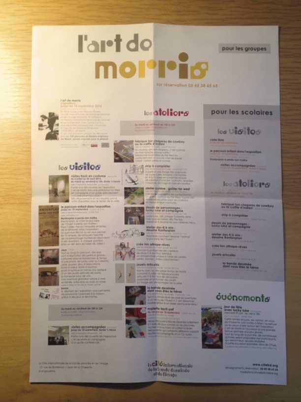 """photographie du dépliant programme de médiation pour les groupes de l'exposition """"L'art de Morris"""" de la Cité internationale de la bande dessinée et de l'image à Angoulême"""
