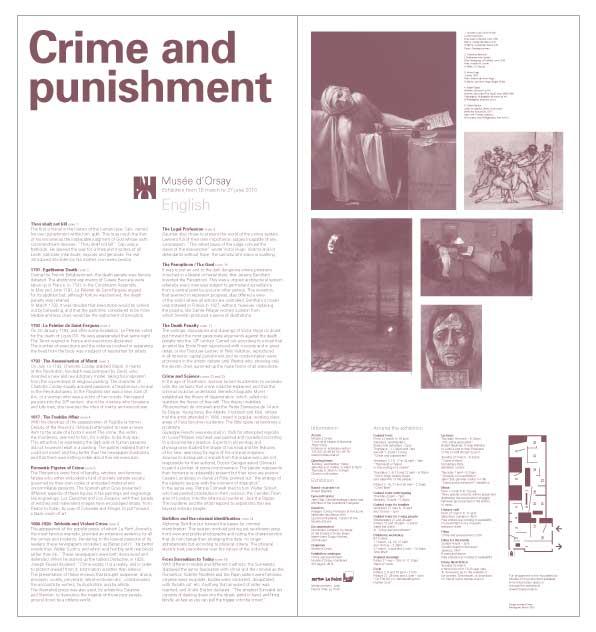 """dépliant d'exposition de l'exposition """"Crime et châtiment"""" traduction anglaise au musée d'orsay"""