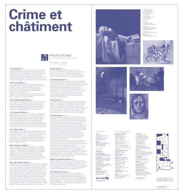 """dépliant d'exposition de l'exposition """"Crime et châtiment"""" français au musée d'orsay"""