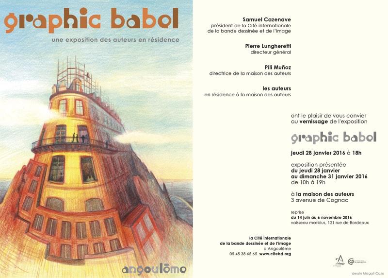 carton d'invitation pour l'exposition Graphic Babel à la Cité internationale de la bande dessinée et de l'image à Angoulême.
