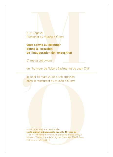 """carton d'invitation déjeuner à l'occasion de l'inauguration de l'exposition """"Crime et Châtiment"""" au musée d'Orsay"""