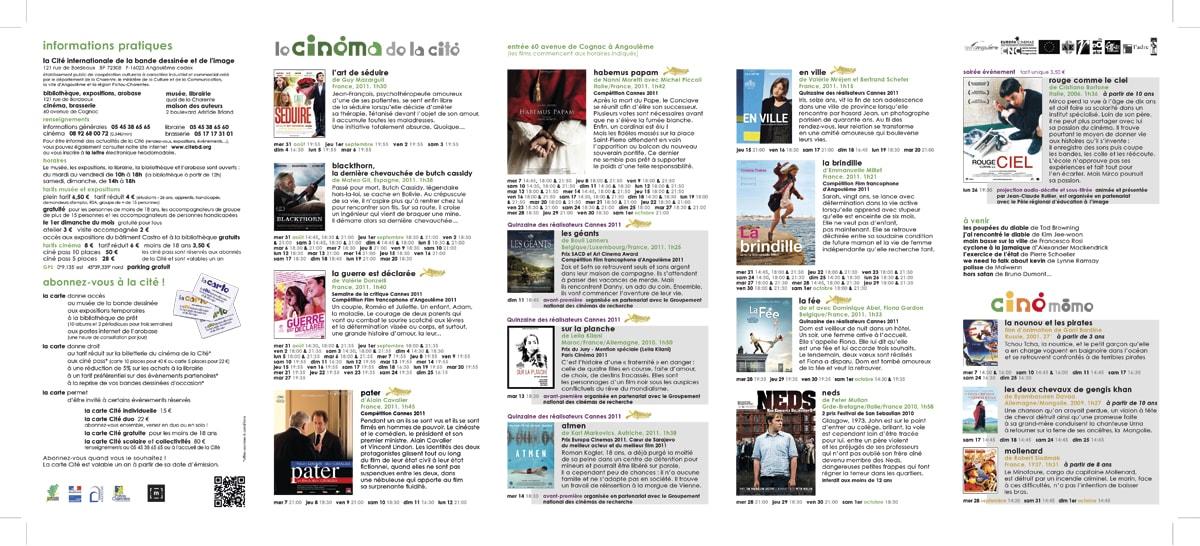 programme mensuel de la Cité internationale de la bande dessinée et de l'image à Angoulême