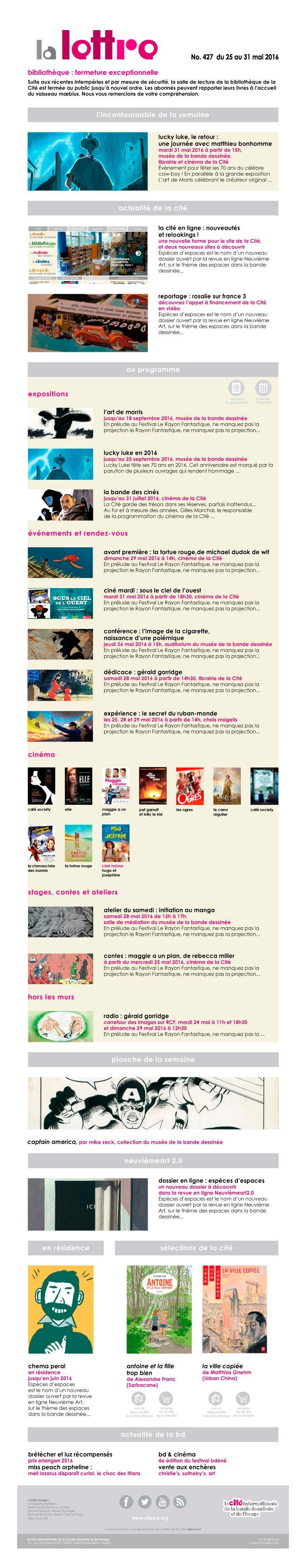 newsletter de la Cité internationale de la bande dessinée et de l'image à Angoulême