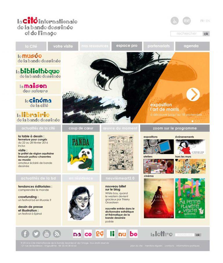 gabarit page accueil pour le site de la Cité internationale de la bande dessinée et de l'image à Angoulême