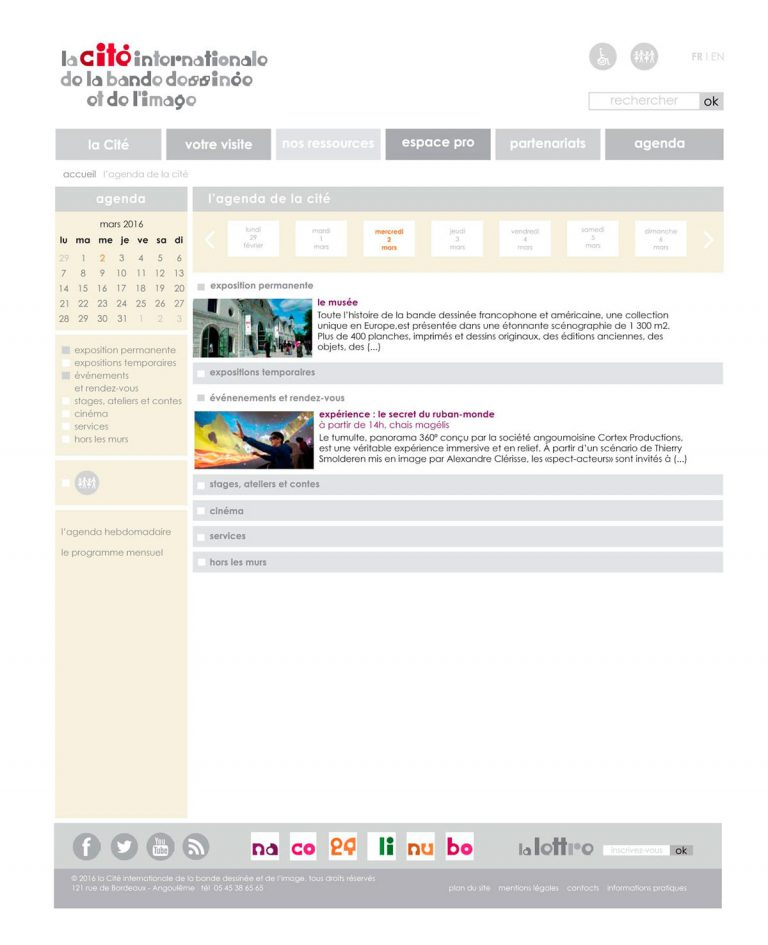 gabarit page agenda de la Cité pour le site de la Cité internationale de la bande dessinée et de l'image à Angoulême