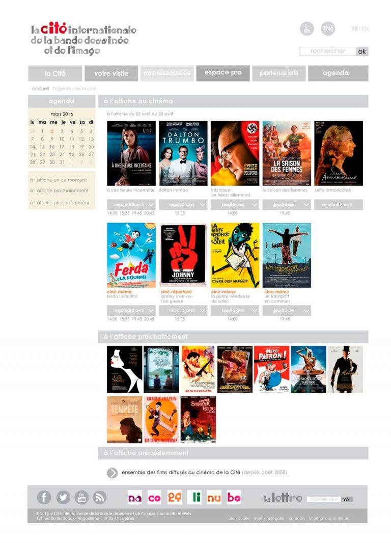 gabarit page cinéma pour le site de la Cité internationale de la bande dessinée et de l'image à Angoulême