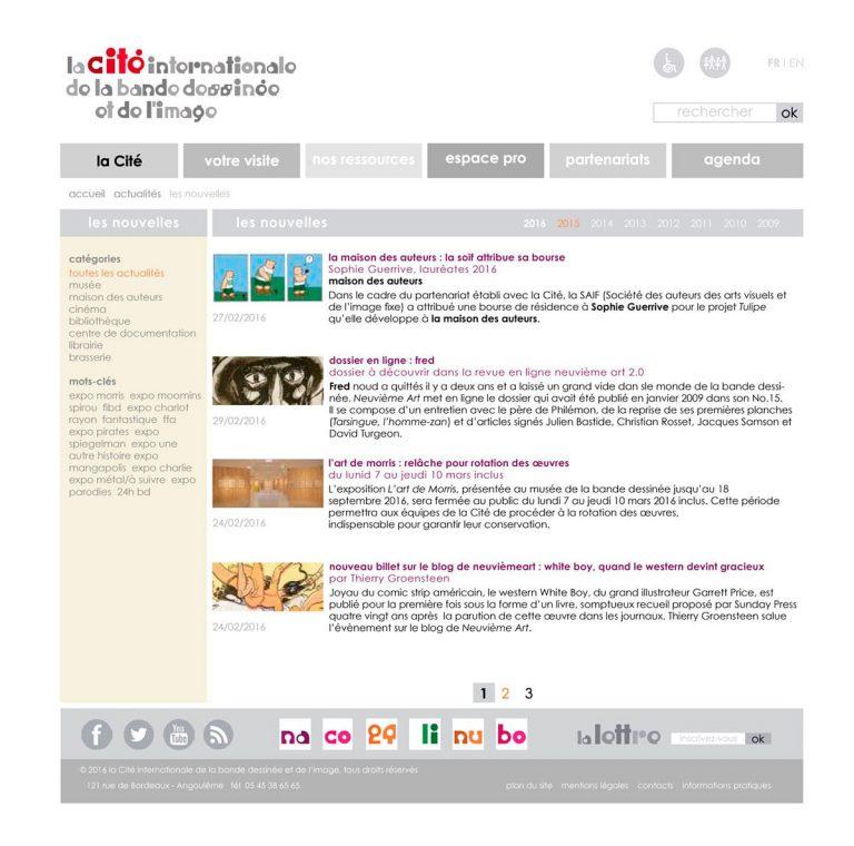 gabarit page les nouvelles pour le site de la Cité internationale de la bande dessinée et de l'image à Angoulême