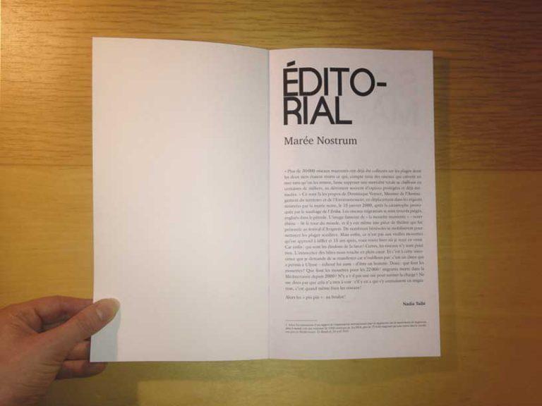 """photographie page éditorial de la revue philosophique """"Sens dessous"""""""