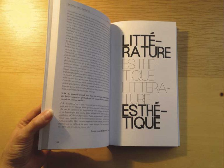 """photographie page littérature de la revue philosophique """"Sens dessous"""""""