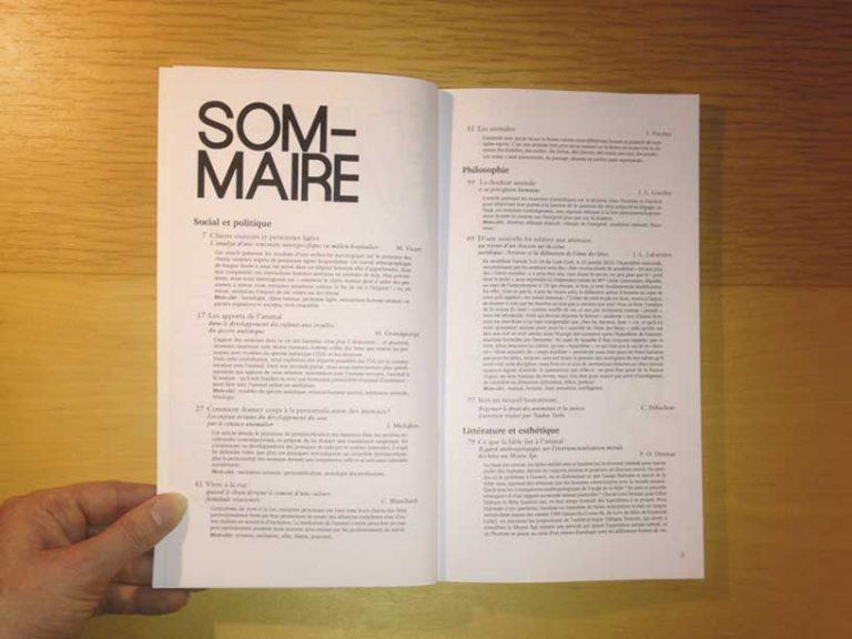 """photographie double page sommaire de la revue philosophique """"Sens dessous"""""""