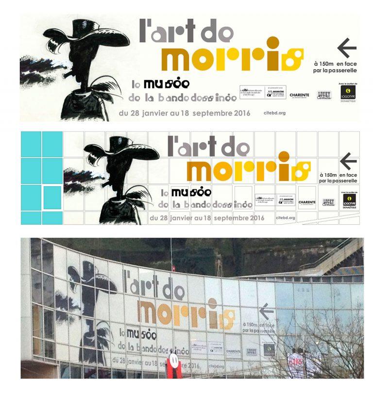 """signalétique extérieure cover de l'exposition """"L'art de Morris"""" de la Cité internationale de la bande dessinée et de l'image à Angoulême"""