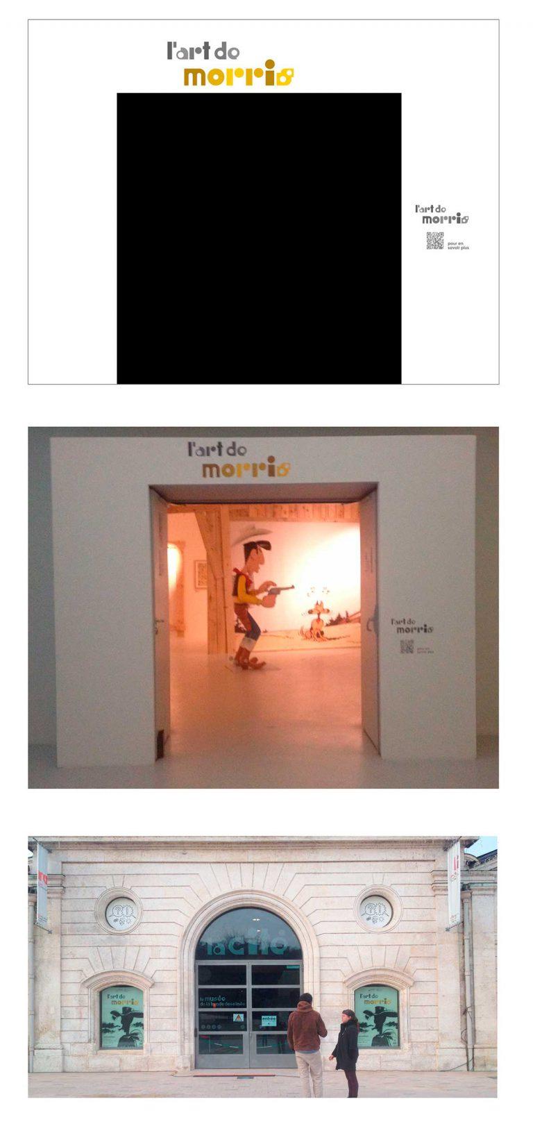 """signalétique entrée de l'exposition """"L'art de Morris"""" de la Cité internationale de la bande dessinée et de l'image à Angoulême"""