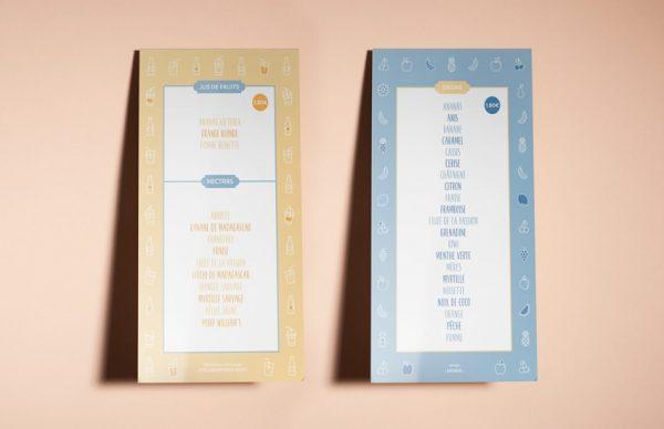 mockup carte des sirops et jus de fruits du salon de thé le voyage gourmand